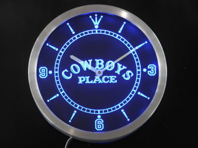 Western Cowboys Place Bar Beer Neon Sign LED Wall Clock
