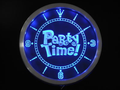 Party Time Happy Hour Bar Beer Room Neon Sign LED Wall Clock