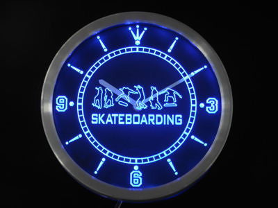 Skateboarding Training Game Neon Sign LED Wall Clock