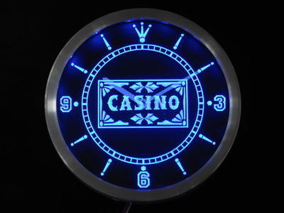 Casino Poker Game Room Bar Beer Neon Sign LED Wall Clock
