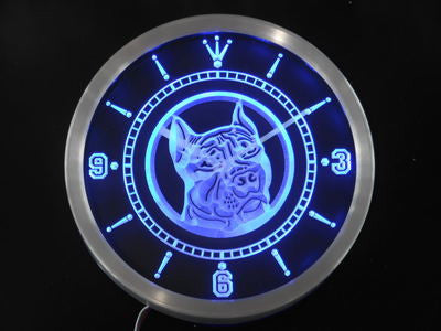 Pit Bull Dog Shop Pet Animals Neon Sign LED Wall Clock