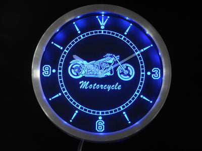 Motorcycle Bike Sales Services Neon Sign LED Wall Clock