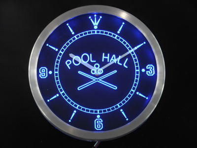Pool Hall Room Bar Beer Neon Sign LED Wall Clock