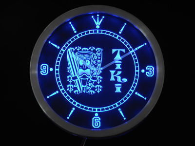 Tiki Bar Surfer Mask Beer Neon Sign LED Wall Clock