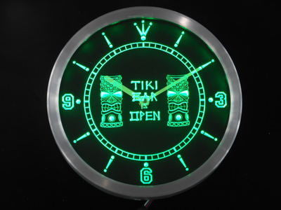 Tiki Bar Masks Pub Club Neon Sign LED Wall Clock