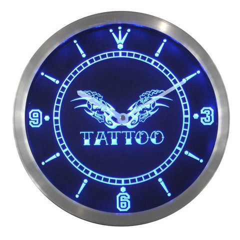 Tattoo Shop Skull Wings Bar Beer Neon Sign LED Wall Clock