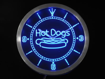 Hot Dogs Fast Food Shop Neon Sign LED Wall Clock