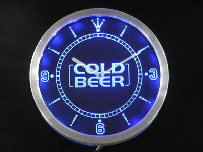 Cold Beer Bar Pub Club Neon Sign LED Wall Clock