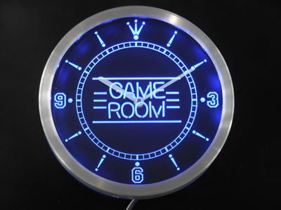 Game Room Kid Man Cave Neon Sign LED Wall Clock