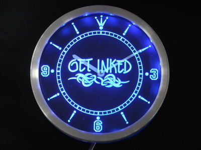 Get Inked Tattoo Shop Neon Sign LED Wall Clock