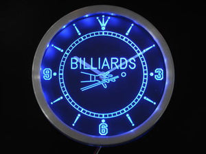 Billiards Pool Room Table Bar Neon Sign LED Wall Clock