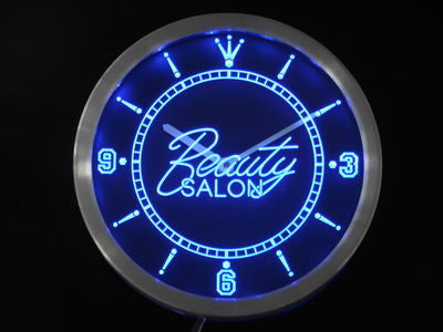 Beauty Salon Shop Neon Sign LED Wall Clock