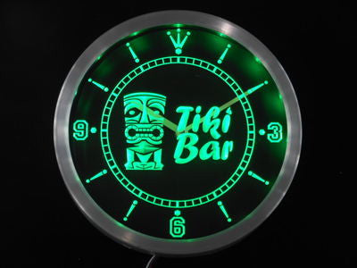 Tiki Bar Mask Beer Neon Sign LED Wall Clock