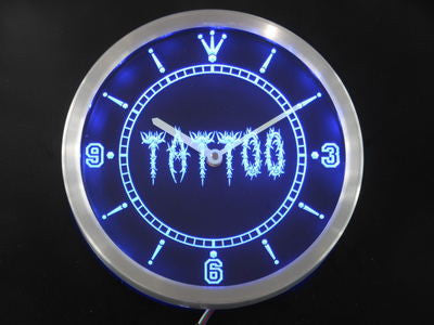 Tattoo Shop Neon Sign LED Wall Clock