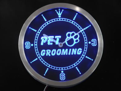 Pet Grooming Dog Cat Shop Neon Sign LED Wall Clock