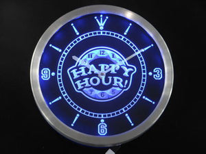Happy Hour Bar Beer Pub Neon Sign LED Wall Clock