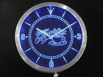 OPEN Espresso Cappuccino Coffee Cafe Neon Sign LED Wall Clock