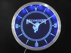 Recording On The Air Radio Studio Neon Sign LED Wall Clock