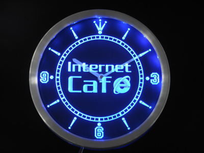 Internet Cafe Shop Neon Sign LED Wall Clock