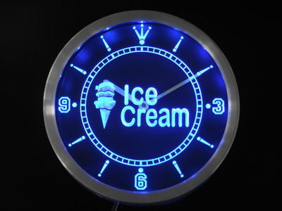 Ice Cream Shop Neon Sign LED Wall Clock