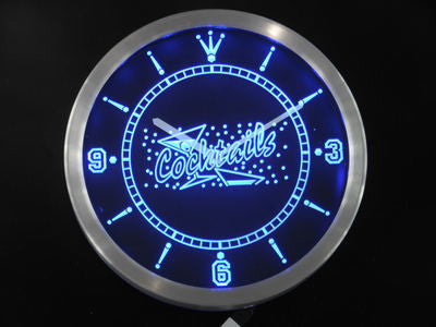 OPEN Cocktails Bar Pub Club Neon Sign LED Wall Clock