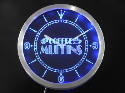OPEN Coffee Shop Muffins Neon Sign LED Wall Clock