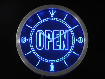 OPEN Shop Display Cafe Business Neon Sign LED Wall Clock