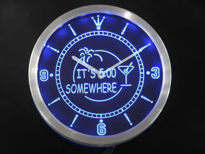 ITS 5:00 SOMEWHERE MARGARITA Neon Sign LED Wall Clock