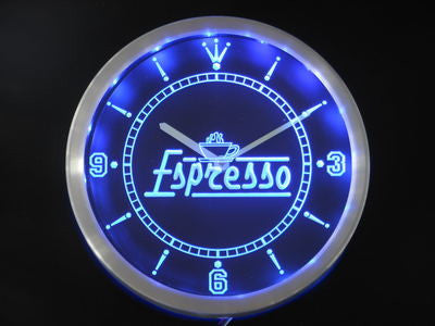 Espresso Coffee Shop Cafe Neon Sign LED Wall Clock