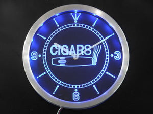 OPEN Cigars Cigarette Bar Neon Sign LED Wall Clock