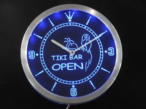 Tike Bar Open Parrot Neon Sign LED Wall Clock