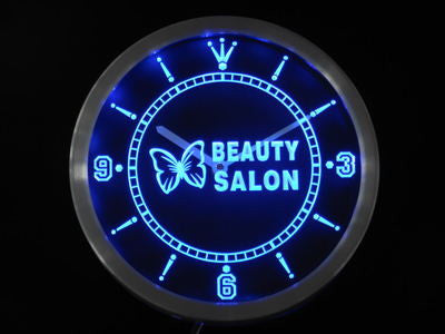 Beauty Salon Butterfly Shop Neon Sign LED Wall Clock
