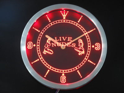 OPEN Live Nude Exotic Dancer Bar Beer Neon Sign LED Wall Clock