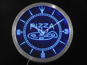 OPEN Hot Pizza cafe Restaurant Neon Sign LED Wall Clock