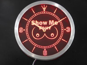Show Me your Tits Neon Sign LED Wall Clock