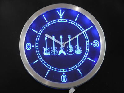 Guitar Weapons Band Room Neon Sign LED Wall Clock