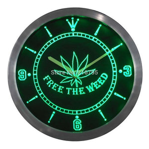 Free the Weed High Life Neon Sign LED Wall Clock