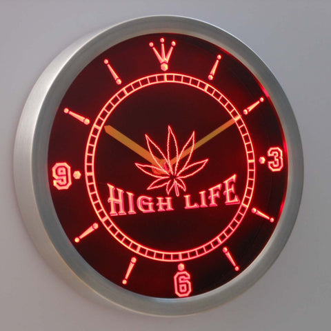 Hemp Leaf High Life Bar Neon Sign LED Wall Clock