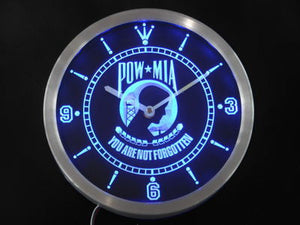 POW MIA You are not forgotten Neon Sign LED Wall Clock