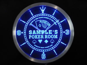Name Personalized Custom Best Poker Room Liquor Bar Neon Sign LED Clock