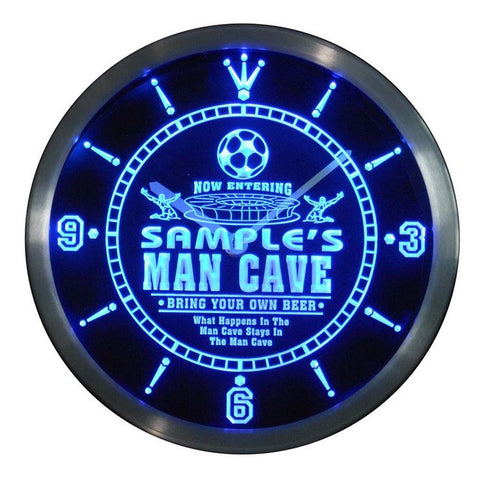 Name Personalized Custom Man Cave Soccer Bar Beer Neon Sign LED Clock