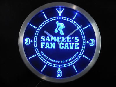 Name Personalized Basketball Fan Cave Man Room Bar Neon Sign LED Clock