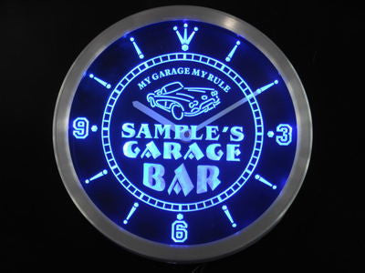 Garage Car Repair Personalized Your Name Bar Neon Sign Led Clock