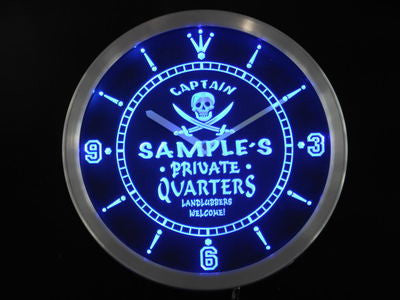 Private Quarters Pirate Personalized Name Bar Beer Neon Sign Led Clock