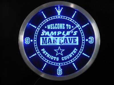 Name Personalized Custom Man Cave Patriots Country Neon Sign LED Clock