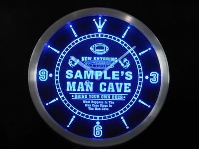 Name Personalized Custom Man Cave Football Bar Beer Neon Sign LED Clock