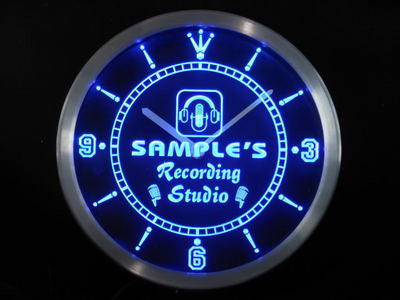 Name Personalized Custom Recording Studio Microphone Neon Sign LED Clock