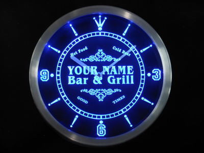 Name Personalized Custom Family Bar & Grill Beer Home Neon Sign LED Clock