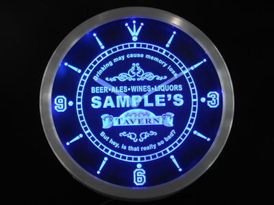 Tavern Beer Ale Personalized Your Name Bar Pub Neon Sign Led Clock