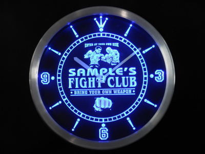 Name Personalized Fight Club Bring Your Weapon Neon Sign LED Clock